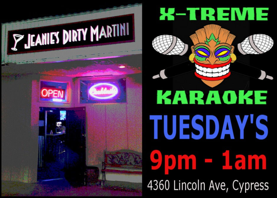 tuesday karaoke Jeanie's Direty Martini