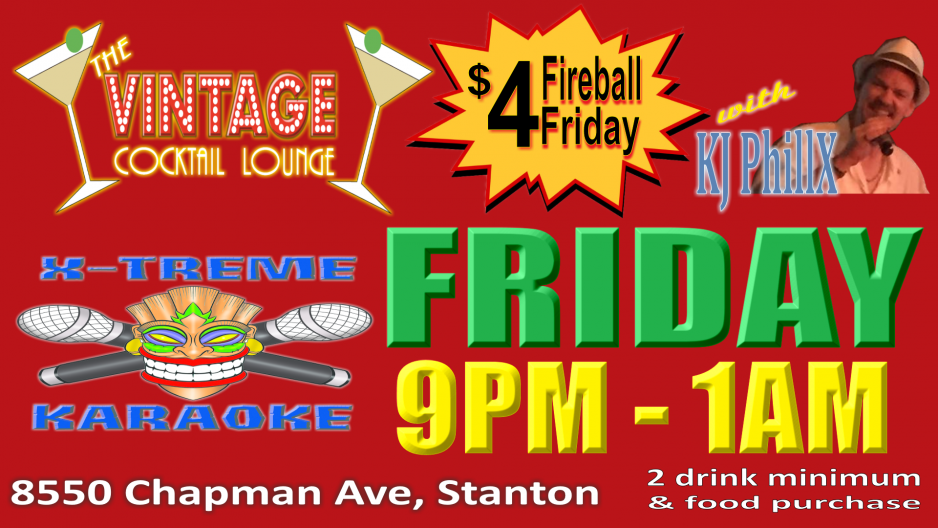 Vintage Cocktail Lounge Fireball Friday Karaoke
